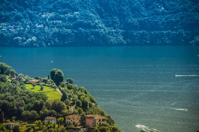 View over Como Lake from Sacro Monte di Ossuccio, Como Lake, Lombardy, Italy
