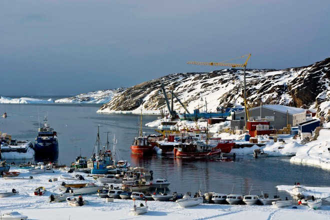 A view of Ilulissat harbour, partially frozen.
