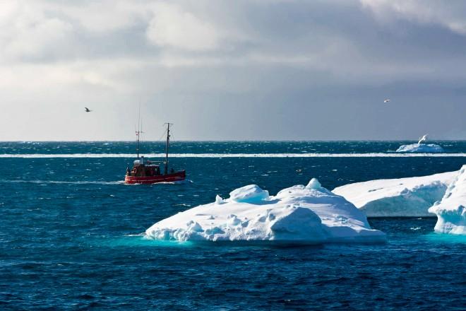 Icebergs along the coastline of Ilulissat, Greenland.