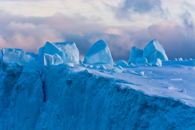 Detail of an iceberg in Ilulissat icefjord, an UNESCO World Heritage Site, Greenland..