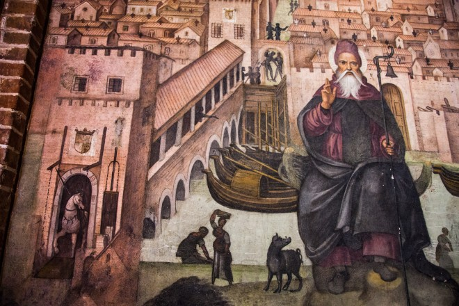 Un particolare interno dei cicli pittorici della Chiesa di San Teodoro a Pavia.