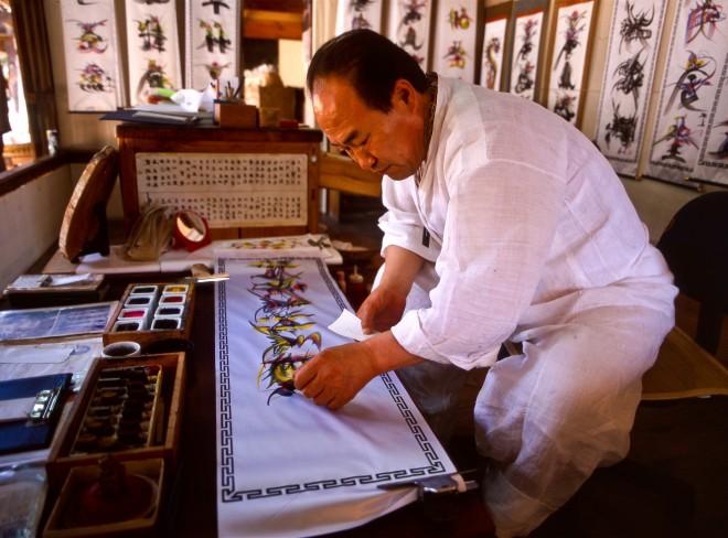 South Korea,  Seoul, Korean Folk Village, calligrapher