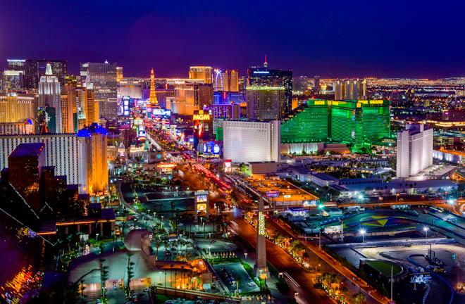 View of the Las Vegas Strip, looking north from the Foundation Room atop the Mandalay Bay Hotel & Casino in Las Vegas on Monday, Nov. 2, 2015. CREDIT: Mark Damon/Las Vegas News Bureau