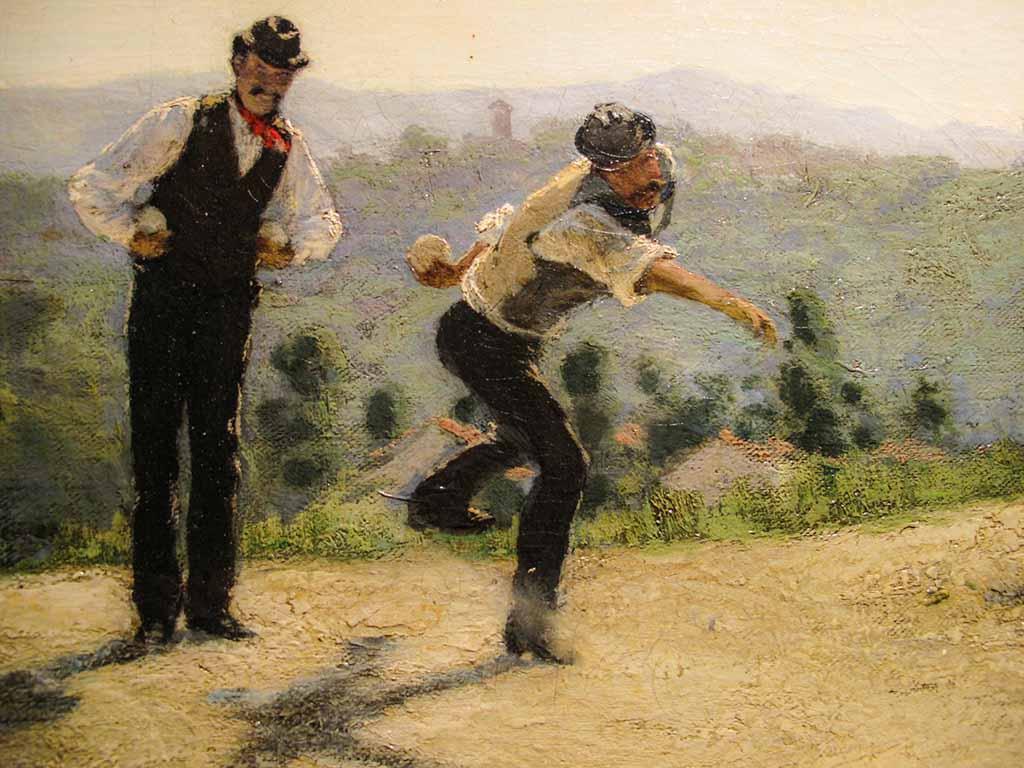 Morbelli - La partita a bocce (dettaglio). 1885. - Latitudes