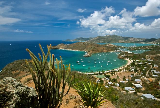 Antigua (Carribean Island) View of English Harbour from Shirley Heights