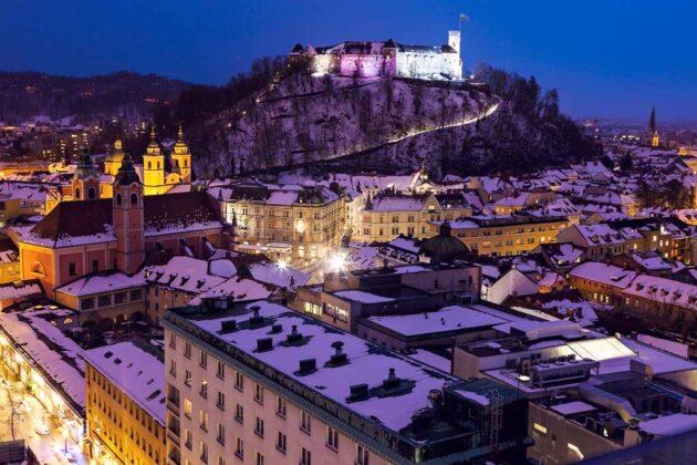 Lubiana-Slovenia-castello-neve